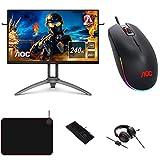 AOC Monitor Agon AG273QZ - 27' QHD (1560x1440, 240 Hz, 0.5 ms, TN, FreeSync Premium Pro, 400 CD/m, HDMI 2x2.0) Negro, Plata + Ratón de Gaming + Auriculares + Teclado + Alfombrilla para ratón