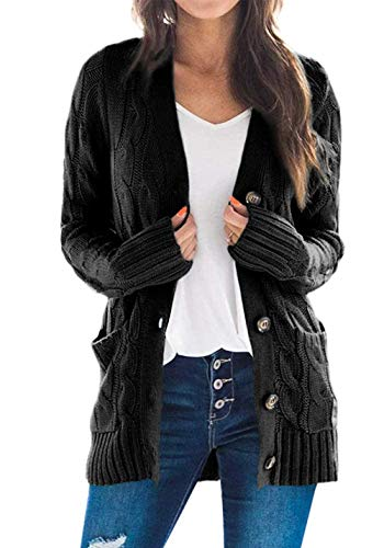 PRETTYGARDEN Women's Long Sleeve Open Front Knitted Cardigan Sweater Button Down Chunky Outwear Coat with Pockets Black