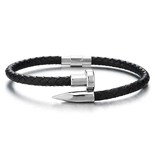 COOLSTEELANDBEYOND Mens Women Stainless Steel Nail Thin Black Braided Leather Wrap Bangle Bracelet Wristband