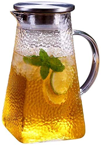 Teapot Teapot Liter Carafe Glass with Stainless Steel Lid Carafe with Fruit Insert Dishwasher Safe Glass Jug Water Pitcher Suitable for Flower Tea/Drink Coffee (Size : 1200ml) Song (Size : 1000ml)