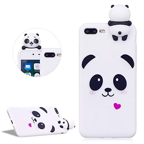 DasKAn Karikatur 3D Panda Silikon Hülle für iPhone 7 Plus/8 Plus,Rosa Herz Tiere Muster Einfarbig Matt Ultra Dünn Weich Gummi Rückseite Handytasche Stoßfest Flexibel Gel TPU Schutzhülle,Weiß#1