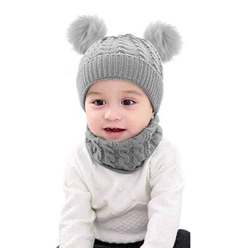 Mengqiy 2 Stücke Infant Kleinkind Kinder Baby Winter Warme Strickmütze Beanie Cap & Neck Warmer Kreis Loop Schal für Mädchen Jungen