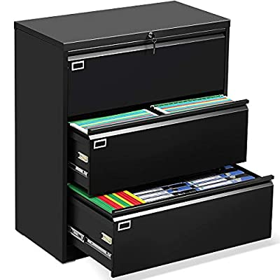 3 Drawer Lateral File Cabinet with Lock, Heavy Duty Metal Storage Printer Stand, Anti-Rust Large Filing Cabinet with 6 Adjustable Hanging Bars and 2 Keys for Office Home (Easy to Assemble) …