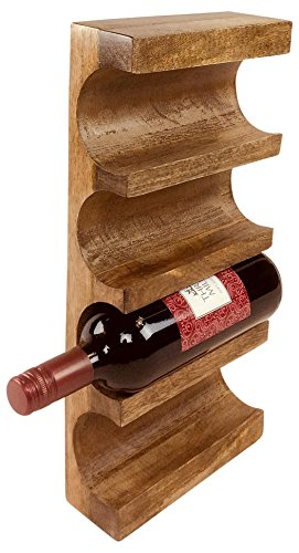 Geko - Estante de Pared para Vino, Madera, Color marrón, Talla única