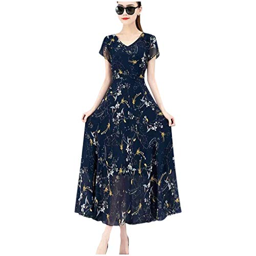 AMhomely Women Dresses Promotion Sale Clearance,Fashion Casual Ladies V-Neck Short Sleeve Long Dress Printed Slim A-Line Dress UK Size 8-26