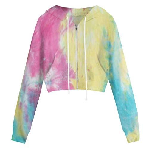 TIMEMEAN Damen Pullover Lange Ärmel Tie-Dye Druck Reißverschluss Tasche Kapuzenpullover Casual Sweatshirt Tops