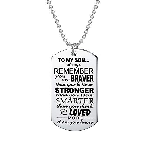 BESPMOSP Inspirational Gifts For Teen Boys Always Remember You Are Braver Than You Believe Necklace Gifts For Son (Style 1)