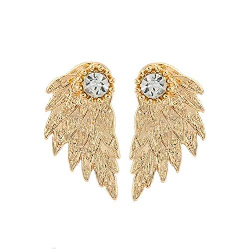 Pendientes de tuerca de cristal con alas de ángel góticas de Lightblue para mujer, Aleación, dorado, As description