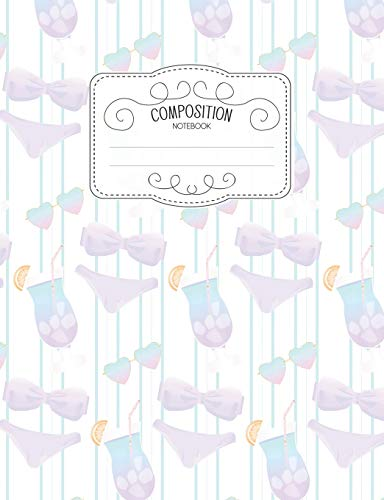 Composition Notebook: Kawaii College Ruled Narrow Line Comp Books for School - Summer Blue Bikini (Pastel Cute Journals for Students, Band 70)