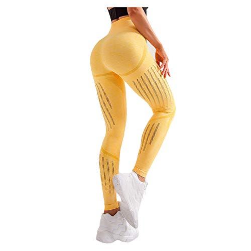 Surfiiiy - Pantalones de yoga para mujer, cintura alta, elásticos, elásticos, para hacer ejercicio, leggings amarillo S