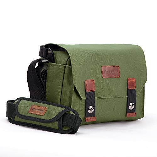 AERFEIS Vintage Camera Case, Made of Waterproof Canvas, DSLR/SLR Shoulder Bag with Hidden Porket, Mirrorless Camera Crossbody Bag for Women and Men, Compatible for Drone DJI Mavic air 2 (Green-Small)