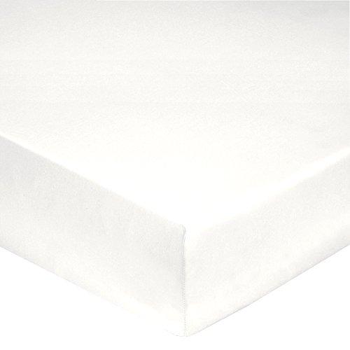 Blanc des Vosges Uni Satin Drap housse Coton Blanc 180 x 200 cm bonnet de 30 cm