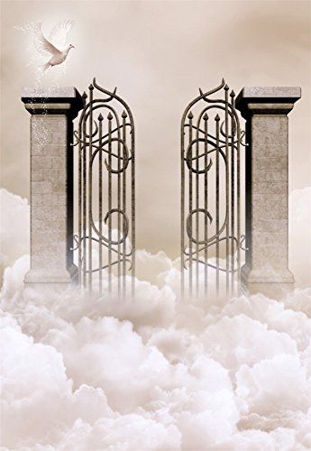 Laeacco 5X7FT Vinyl Photography Background Holy Heaven Gate Dove White Cloud Magical Mystery Children Kids Adults Portraits Backdrop 1.5(W) X2.2(H) M Photo Studio Props