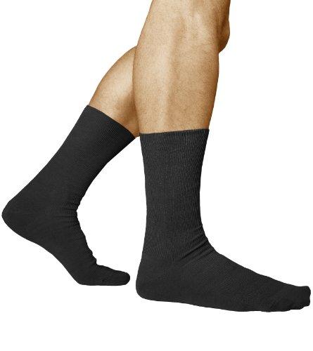 vitsocks Calcetines Sin Elástico 98% Algodón Hombre (3 PARES) Sin Presión Hinchazón Leve, negro, 44-46
