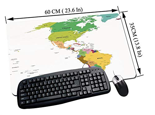 Alfombrilla Raton Gaming,Mapa, Mapa de América del Sur y del Norte con Países Capitales y Ciudades Principales Di,Impermeable con base de goma antideslizante, PC y laptop comfortable mouse pad60x35 cm
