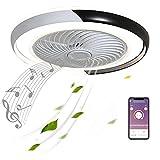 50cm Negro Moderno Ventilador de Techo LED con Altavoces Bluetooth Música Luz Plafon de Lámpara Ventilador de Techo Equipo de Iluminación APP Mando a Distancia Ultra-Silencioso Temporizador Dormitorio
