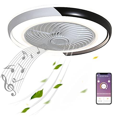50cm Negro Moderno Ventilador de Techo LED con Altavoces Bluetooth Música Luz...