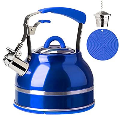 Secura Whistling Tea Kettle, 2.3 Qt Tea Pot, Stainless Steel Hot Water Kettle for Stovetops with Silicone Handle, Tea Infuser, Silicone Trivets Mat, Blue