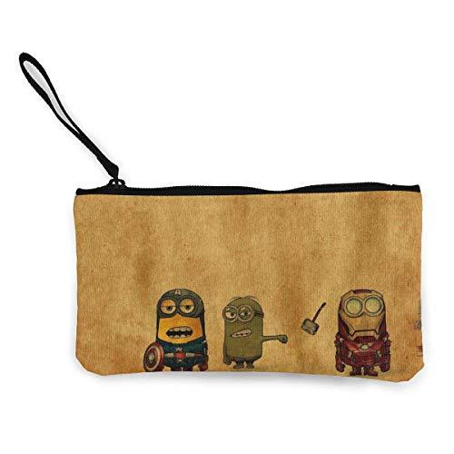 Pequeño Monedero de Lona de Hombre Amarillo con Estampado de Cremallera Monedero pequeño para Mujer Bolsa de cosméticos