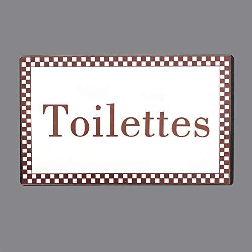 chemin_de_campagne Plaque de Porte Toilettes Fer Blanc Entourage Vichy Bordeaux Rectangulaire 15 cm
