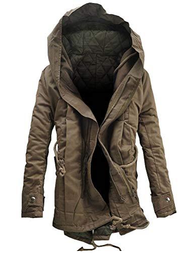 KJHSDNN Parka con Cappuccio da Uomo Giubbotto Cappotti Caldi Zip UP Invernale 50