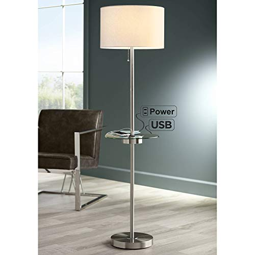 Caper Modern Contemporary Floor Lamp with Tray USB and AC Power Outlet on Table Glass Satin Nickel White Fabric Drum Shade for Living Room Reading House Bedroom Home Office - 360 Lighting