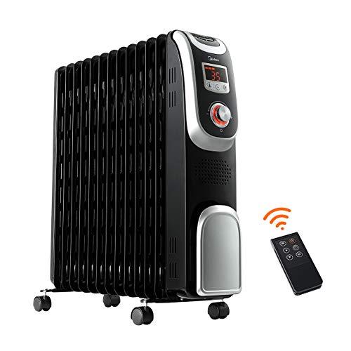 Midea 2500W Ölradiator NY2513-13A1L, Radiatoren Heizkörper Elektrisch Heizung mit Thermostat, 13 Rippen, Fernbedienung, LED Display, 24H Timer, 3 Heizstufen, Elektroheizung Energiesparend Radiator