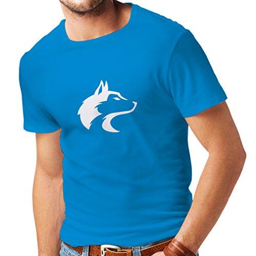 lepni.me Camisetas Hombre la Llamada del Lobo Salvaje - gráfico Genial con sentimiento Espiritual (Medium Azul Blanco)