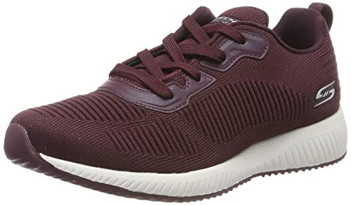 Skechers Bobs Squad-Total Glam, Zapatillas Mujer, Rojo (Burg Black and Multi Engineered Knit), 41 EU