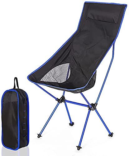 Silla para Exterior,Sillas de playa plegables ultraligeras, sillas de campamento ligeras y portátiles con respaldo alto con bolsa de transporte para exteriores, pesca, festivales, playa(Color:Blue)