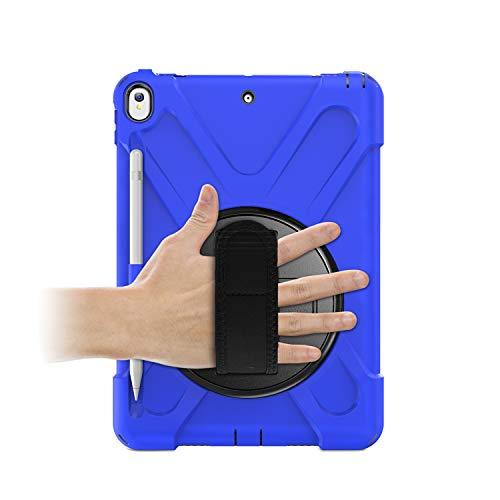 【A9H】iPadAir2019ケースiPadAir3(第三世代)ケースiPadPro10.5ケースショルダー肩掛けシリコンおしゃれ360度回転ハンドホルダーペンシル収納付き落下防止全面保護衝撃吸収防塵あ新型Appleアイパッド10.5インチカバー(モデル番号:A1701A1709)(ブルー)