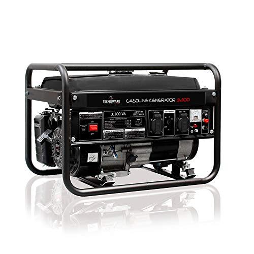 Tecnoware Generador Eléctrico 3200VA - Monofásico 230 Vac, 50 Hz - Motor de combustión interna a Gasolina, (Capacidad del Tanque 15 L) - Encendido Manual