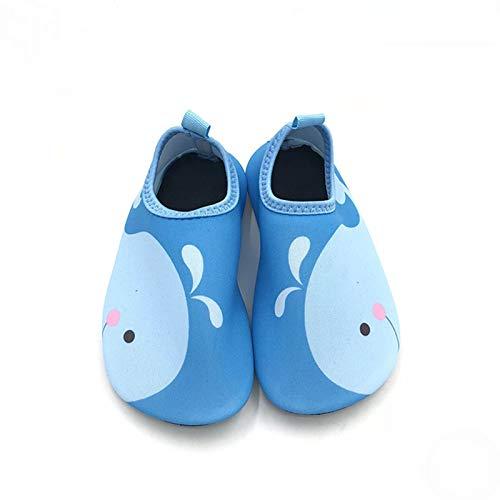 Zapatos De Natación Para Niños Calcetín De Buceo Unisex Descalzo Deportes Acuáticos Calzado De Piel Calcetín Acuático Esnórquel Piscina Junto Al Mar Calcetín Ant(Size:32-33(18cm-19cm),Color:azul)