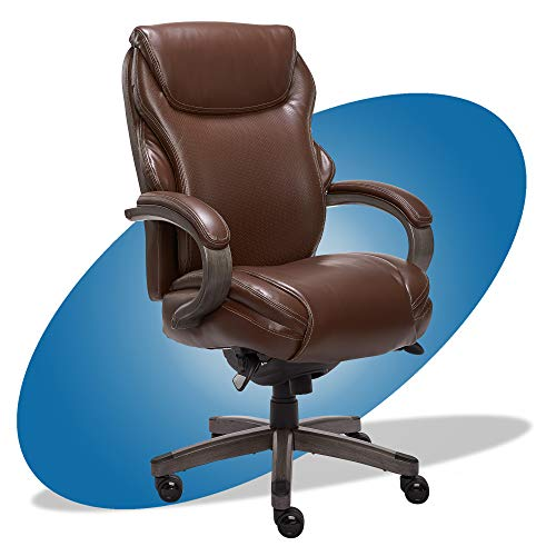 La Z Boy Hyland Executive Office Chair with AIR Technology, Adjustable High Back Ergonomic Lumbar Support, Bonded Leather, Brown and Weathered Gray Wood Finish -  La-Z-Boy, CHR10044C