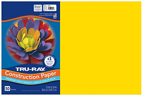 Tru-Ray Heavyweight Construction Paper, Yellow,  12