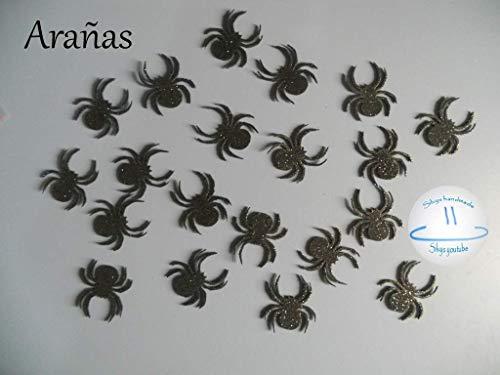 decoracion halloween arañas de goma eva brillante Silvys