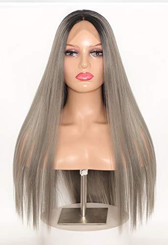 Discoball Ombre Racines noires Brown longue perruque droite droite pour la femme de fête de dames et une utilisation quotidienne avec Perruque gratuite