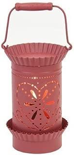 Red Heart Design Tin Metal Oil Tart Warmer - Tin Punched Illumination Fragrance Burner- Primitive Country Decor
