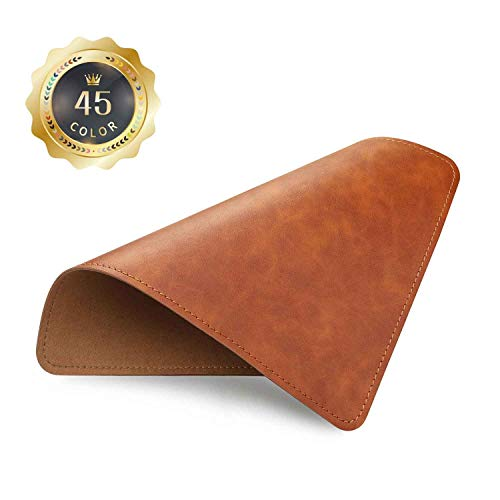 PU Leather Mouse Pad with Stitched Edge Micro-Fiber Base with Non-Slip, Waterproof, Mouse Pad for Computers, Laptop, Office & Home,1 Pack, 8inch11inch (Brown 2.0)