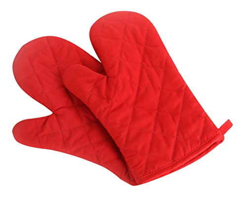 Klmnop Oven Mitts Kitchen Cotton Cute Long Microwave Oven Gloves, Heat Resistant Glove for Cooking, Food, Frying, Baking Premium Durable Mitts 1 Pair Red