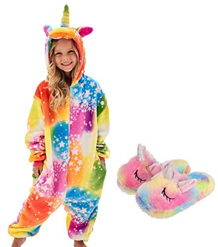 Girls Unicorn Pajamas Onesie with Unicorn Slippers (Yellow, 4-5 Years)