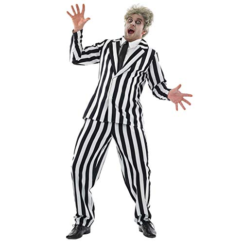 Mens Black & White Striped Suit Adults Horror Movie Character Costume - Medium