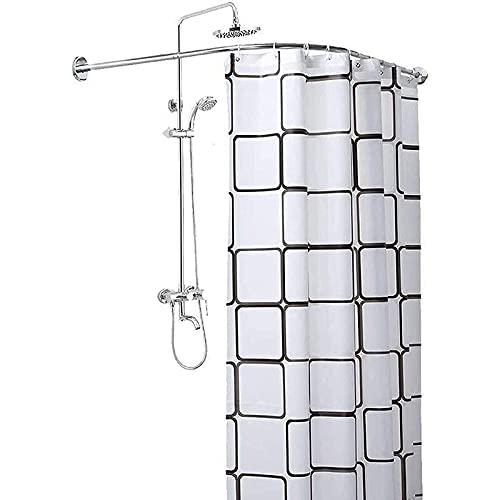 Shower curtain rod Barra de Cortina de Ducha, Acero Inoxidable Ajustable Curva Barra Telescópica de Cortina de Ducha Barra de Ángulo en Forma de L Sin Taladrar, Fácil Montaje