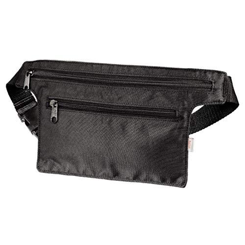 Hama flache Bauchtasche zur Aufbewahrung von Handy, Kleingeld, etc. (leichte Hüfttasche mit 2 Fächern, verstellbarer Bauchgurt, z.B. zum Reisen, Wandern) Gürteltasche, Reisegürtel schwarz