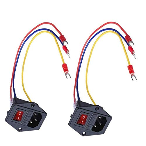 Interruptor de alimentación del módulo de alimentación de CA de la impresora 3D toma de entrada del módulo 15A 250V Interruptor oscilante Interruptor de alimentación 5A fusible con 3 Pin 2 piezas