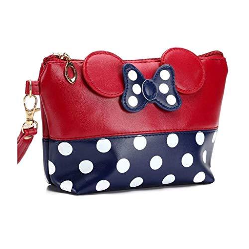 Mouse Ears Style Tupfen Kosmetiktasche - Damen Schminktasche Cartoon Mini Geldbörse für Handtasche Makeup Tasche,Schlüsseln, Kopfhörern, Lippenstift (Rot blau)