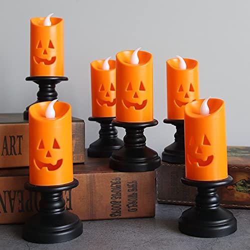12 PCS calabaza sin llama té encender velas, LED parpadeo hueco cara del fantasma Luz de la vela, té enciende velas con pilas, velas sin llama for Mesa de la decoración de Halloween cubierta
