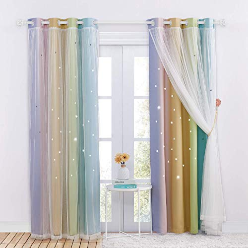 NICETOWN Baby Room Decor, White Gauze & Blackout Drapes Assembled, Star Cut Rainbow Stripes Design Curtains with Versatile Styling Options for Birthday Party (Rainbow-3, Each is W52 x L84)