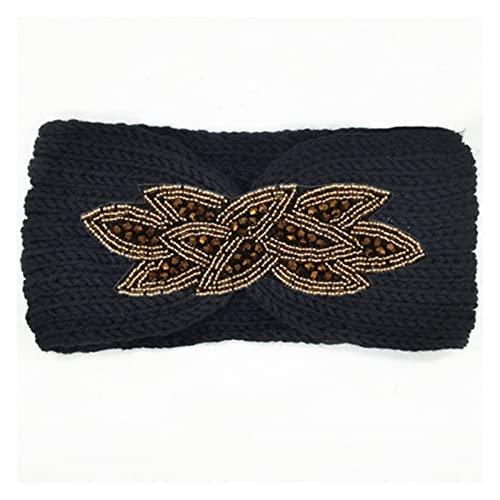 KXLB Diadema De Invierno para Mujer Diadema con Cuentas De Diamantes De Imitación Diadema De Punto Cálida para Niñas Accesorios para El Cabello (Color : Black-Gold)