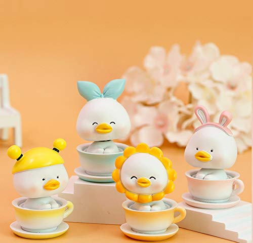 4PC Cartoon Cute Little Duck Shaking His Head Ornaments Car Interior Decorations,Rubber Duck Toy Car Ornaments Baby Toy